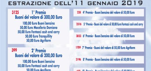 premi lotteria 2018-19 Parco degli Angeli Onlus